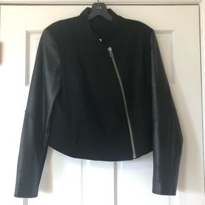Helmut Lang Blk Leather Sleeve Cotton/Wool Jacket